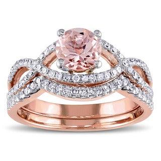 Miadora Signature Collection 14k Rose Gold Morganite and 3/8ct TDW Diamond Infinity Bridal Ring Set (G-H, I1-I2)