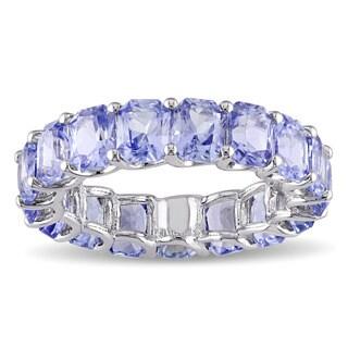 Miadora Signature Collection 14k White Gold 8 4/5ct TGW Light Blue Sapphire Eternity Ring