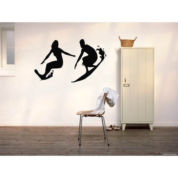 Surfing Surfer wave Sport Man and woman Wall Art Sticker Decal