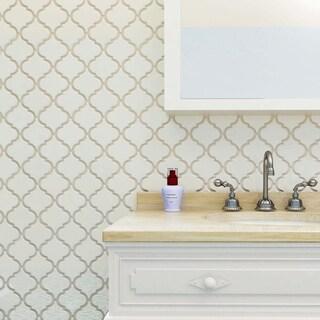 SomerTile 10.5x10.5-inch Aspect Lantern Ivory Bone Porcelain Mosaic Floor and Wall Tile (Pack of 10)