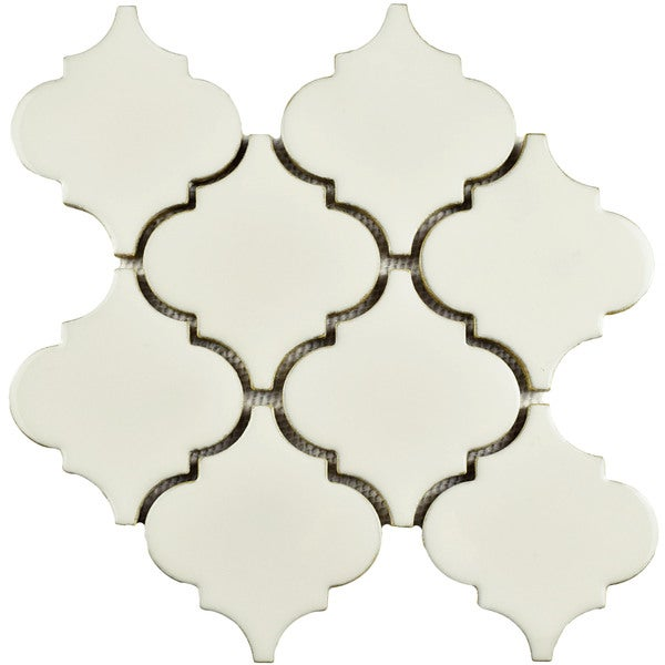 SomerTile 10.5x10.5-inch Aspect Lantern Ivory Porcelain Mosaic Floor and Wall Tile (Case of 10)