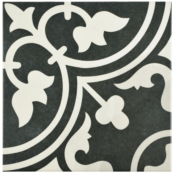SomerTile 9.5x9.5-inch Art Black Porcelain Floor and Wall Tile (Case of 16)
