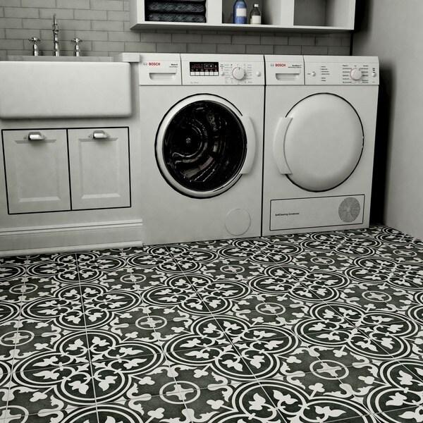 Somertile art black porcelain floor and wall for 16 inch floor tile
