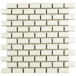 SomerTile 11.875x12-inch Aspect Subway Ivory Bone Porcelain Mosaic Floor and Wall Tile (Case of 10)