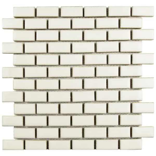 SomerTile 11.875x12-inch Aspect Subway Ivory Porcelain Mosaic Floor and Wall Tile (Case of 10)