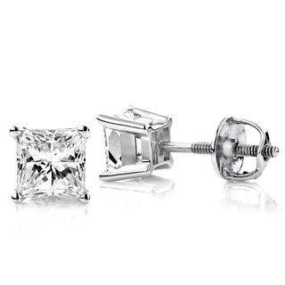 Luxurman 18k Gold 3/4ct TDW Solitaire Princess-cut Diamond Stud Earrings (H-I, SI1-SI2)