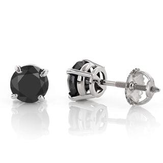 Luxurman 14k Gold 1/4ct TDW Solitaire Black Round Diamond Stud Earrings