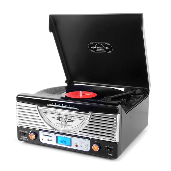 Pyle PTR8UBTBK Retro Vintage Classic Style Bluetooth Turntable Vinyl Record Player with USB/MP3 Computer Recording (Black)