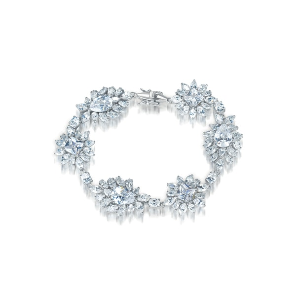 Collette Z Sterling Silver Cubic Zirconia Bracelet With Flower Motif