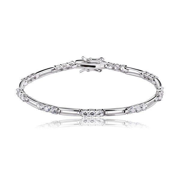 Collette Z Sterling Silver Cubic Zirconia Bracelet With Sections Of Stones