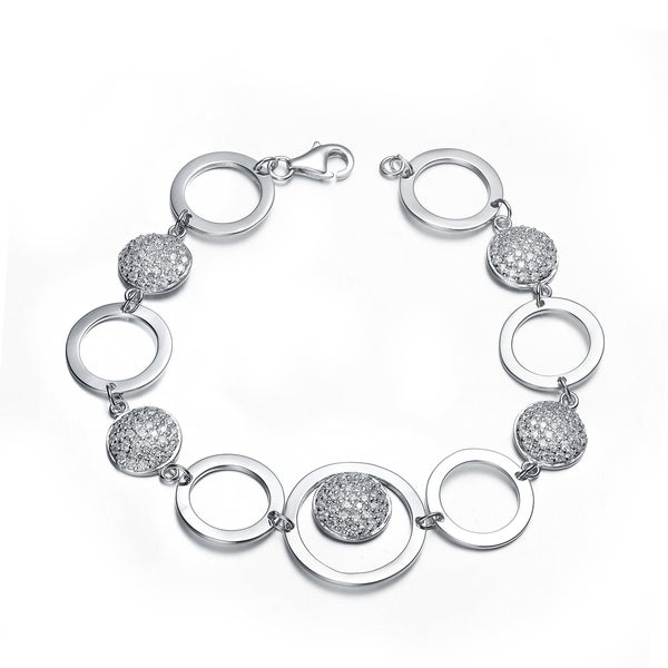 Collette Z Sterling Silver Cubic Zirconia Bracelet With Connecting Circles