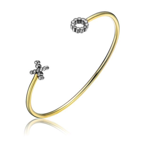 Collette Z Sterling Silver Cubic Zirconia Bangle Bracelet With Accented Ends