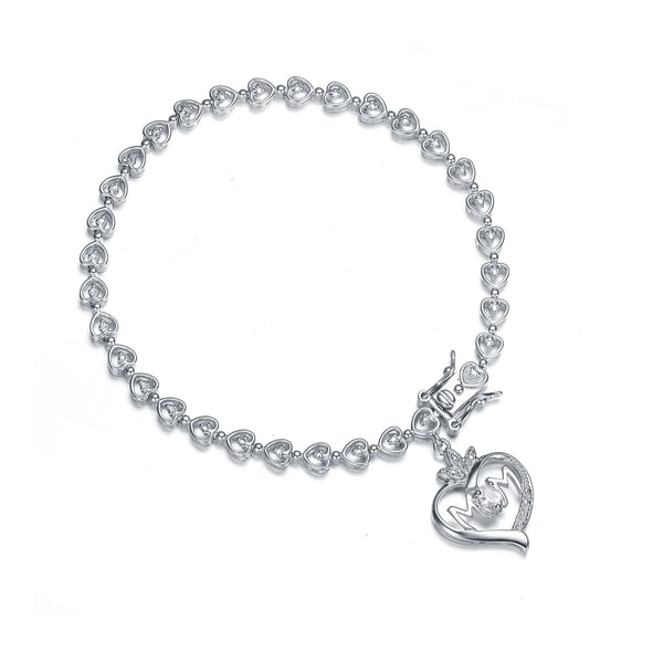 Collette Z Sterling Silver Cubic Zirconia Bracelet With Heart Charm