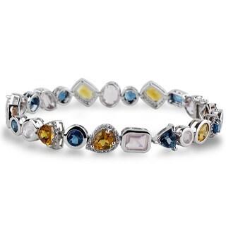 Sterling Silver Citrine, Topaz & Rose Quartz Multi Shape Link Bracelet