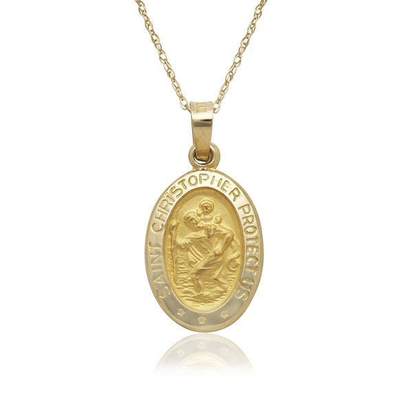 14k Yellow Gold Oval St. Christopher Medal 16-inch Necklace