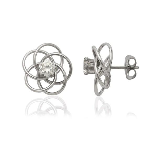14k White Gold Love Knot 4mm Cubic Zirconia Stud Earrings