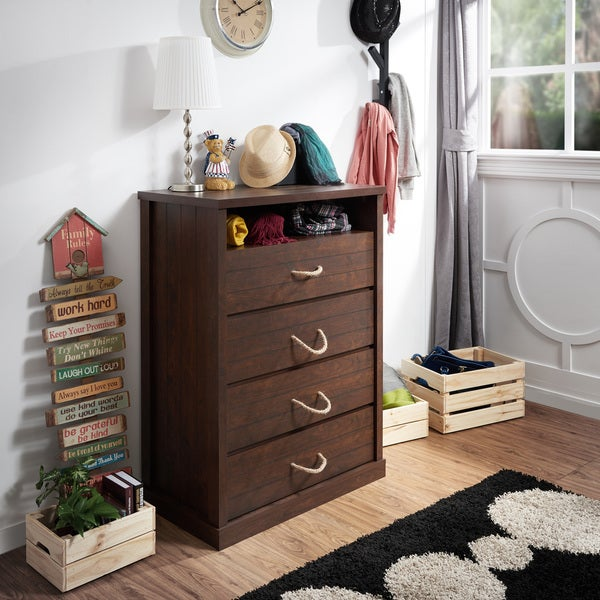Furniture of America Barbardos Rustic Vintage Walnut 4-drawer Rope Handle Chest 17528856