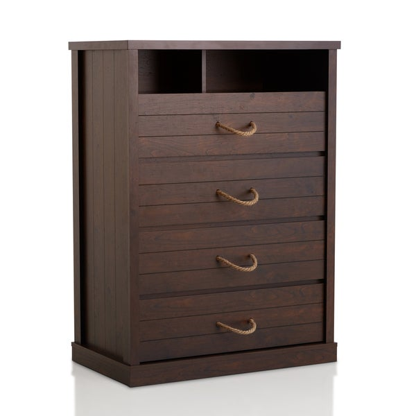 Furniture of America Barbardos Rustic Vintage Walnut 4-drawer Rope Handle Chest 17528856
