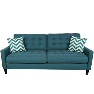 Porter Harlow Deep Teal Contemporary Modern Sofa with Woven Chevron Accent Pillows