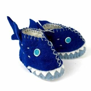 Handcrafted Felt Shark Zooties Baby Booties (Kyrgyzstan)