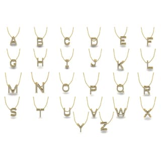 Initial 14k Yellow Gold Necklace with 13 Diamonds - All Letters Available (H-I, I1-I2)