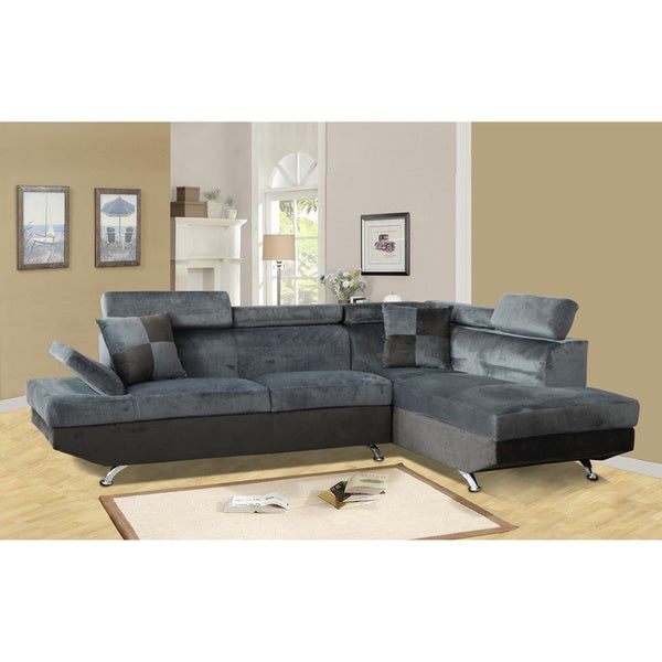 Genoa Dark Grey and Black Right Hand Facing Sectional