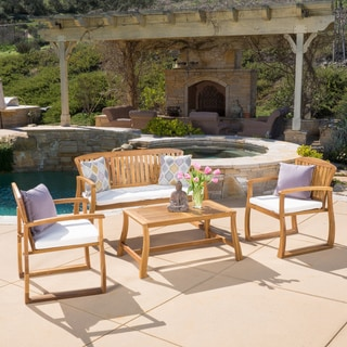 Christopher Knight Home Estrella Outdoor 4-piece Acacia Wood Chat Set with Cushions