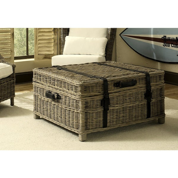 Woven coffee table trunk 18343182 overstockcom for Overstock trunk coffee table