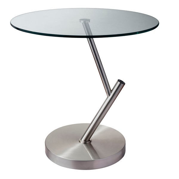 Pulse USB Accent Glass Top Metal Table