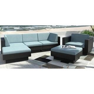 CorLiving Park Terrace 6-Piece Textured Black Weave Double Armrest Sectional Patio Set