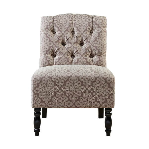 Madison Park Lina Light Brown Tufted Armless Chair