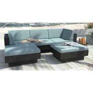CorLiving Park Terrace 5-Piece Textured Black Weave Double Armrest Sectional Patio Set