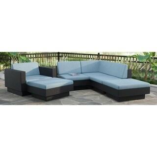 CorLiving Park Terrace 6pc Textured Black Weave Sectional Patio Set