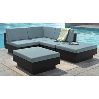 CorLiving Park Terrace 5pc Textured Black Weave Sectional Patio Set