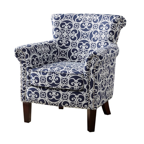 Madison Park Miri Navy/White Tight Back Club Chair