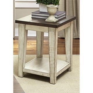 Lancaster Weathered Bark and White Chair Side Table