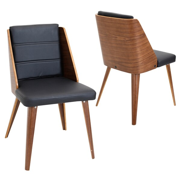 Pair of Galanti Mid Century Modern Chairs in Walnut Wood