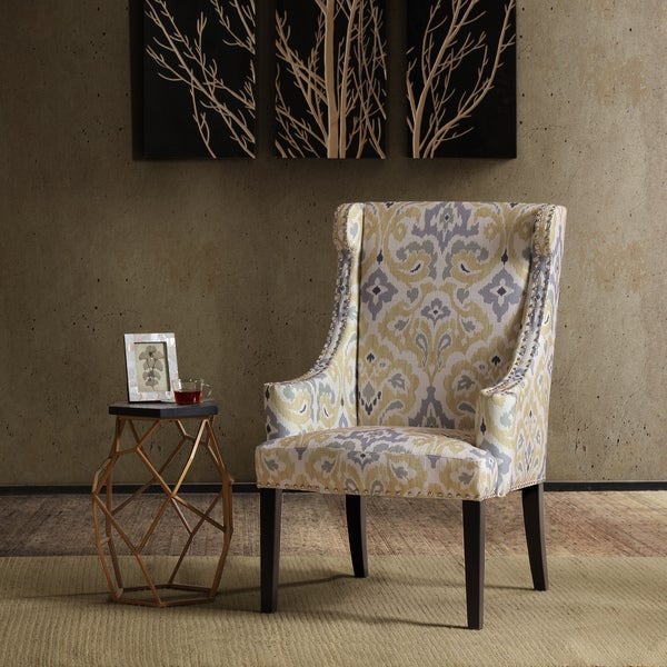 Madison Park Lucy High Back Wing Chair--Yellow/Grey