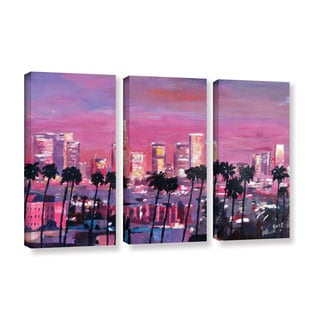 ArtWall 'Marcus/Martina Bleichner's Los Angeles Golden Skyline' 3-piece Gallery Wrapped Canvas Set
