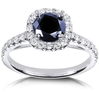 Annello 14k White Gold Sapphire and 2/5ct TDW Diamond Halo Ring (G-H, I1-I2)