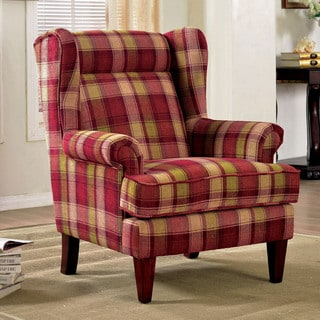 Furniture of America Shermin Traditional Plaid Patterned Wingback Chair