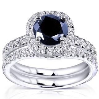 Annello 14k White Gold Sapphire and 5/8ct TDW Diamond Halo Bridal Set (G-H, I1-I2)