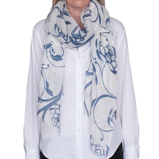 Robert Talbott White and Navy Large Floral Scarf