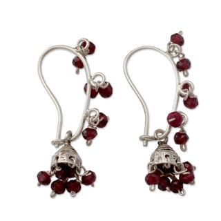 Handcrafted Sterling Silver 'Music' Garnet Earrings (India)
