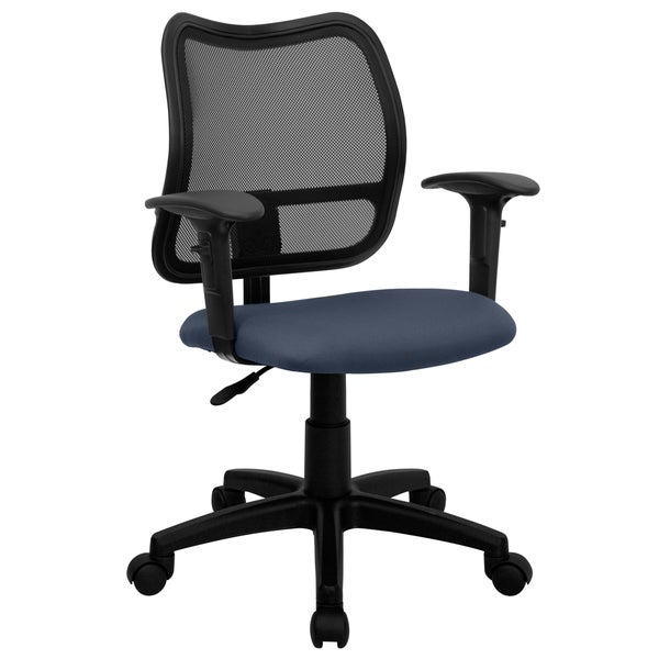 Tartys Black Mesh Swivel Office Chair with Navy Fabric Padded Seat and Height Adjustable Arms