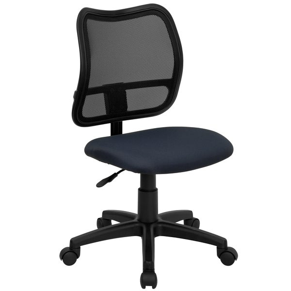 Tartys Armless Swivel Adjustable Mesh Office Chair with Navy Fabric Padded Seat