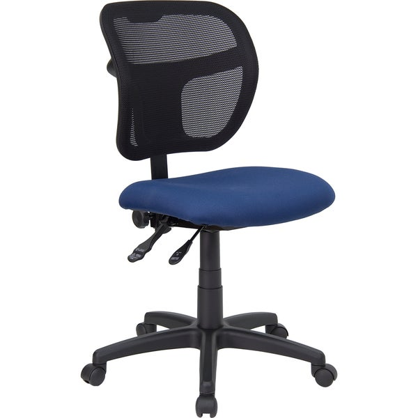 Theo Mesh Dual Paddle Control Swivel Adjustable Armless Ergonomic Office Chair with Navy Fabric Padded Seat