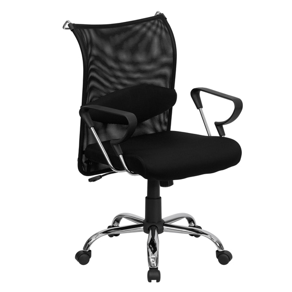 Gerd Black Mesh Swivel Manager's Chair with Adjustable Lumbar Support