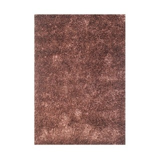 Alliyah Hand Made Brown Art-Silk Shaggy Rug 4x6