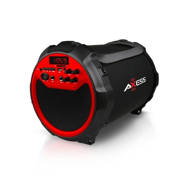 Axess Red Portable Indoor/ Outdoor Bluetooth Cylinder 2.1 Speaker with 6-inch Subwoofer and 3-inch Horn